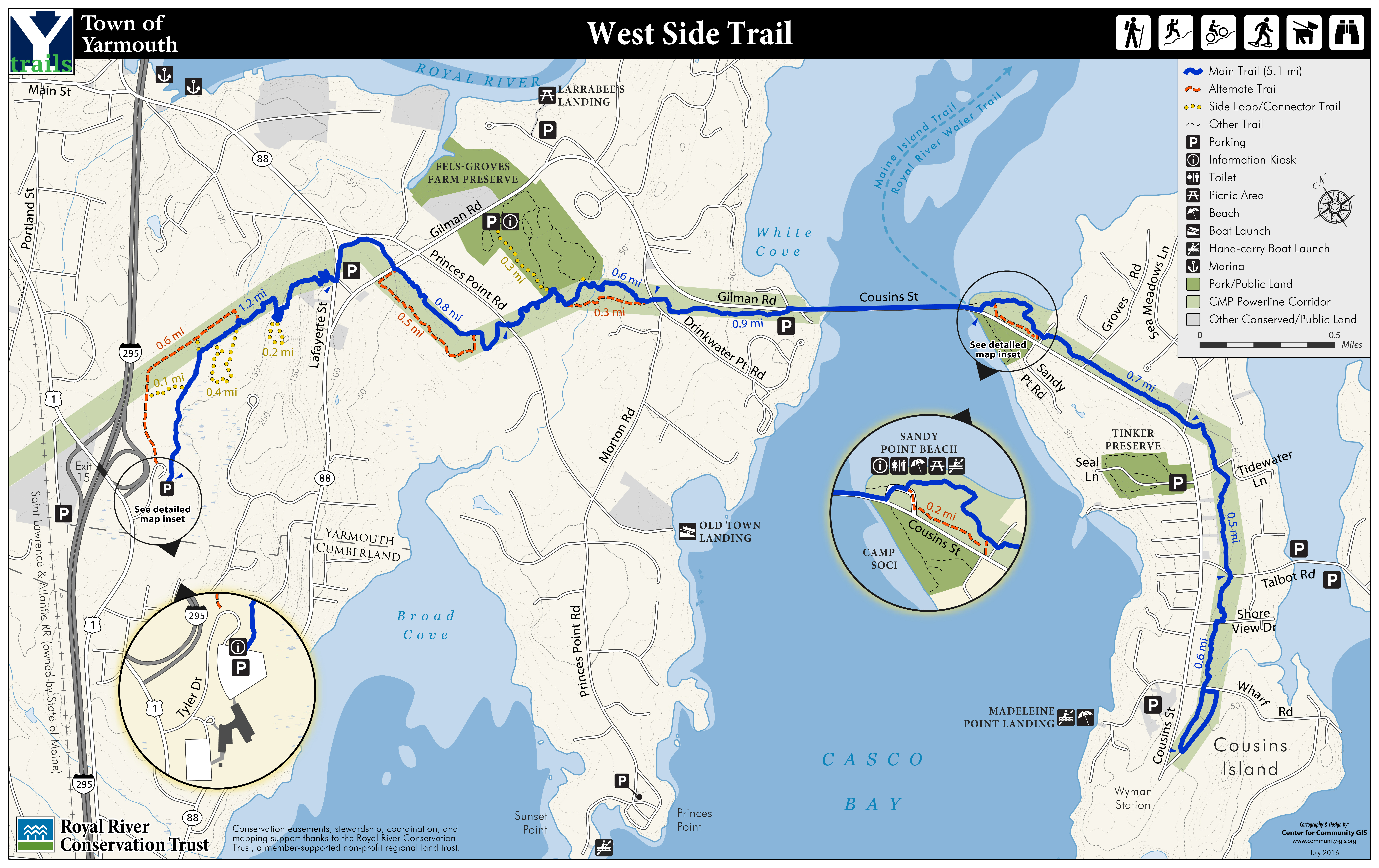 West Side Trail  Royal River Conservation Trust - Us rail trail map